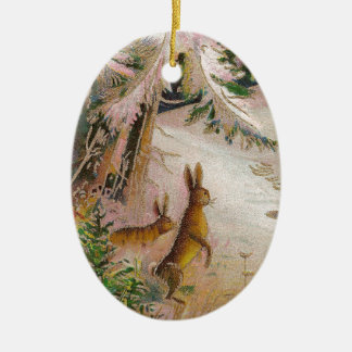 Two Rabbits Under a Snowy Pine Tree Vintage Xmas Ornament