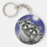 Two raccoons madly in love keychain