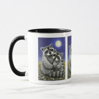 Two raccoons madly in love mug
