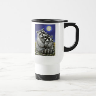 Two raccoons madly in love travel mug