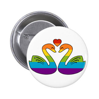 Two Rainbow Swans Buttons