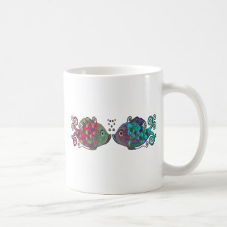 Two Rainbow Whimsical Fish Pair Couple Very Unique Coffee Mug