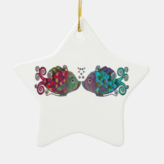 Two Rainbow Whimsical Fish Pair Couple Very Unique Double-Sided Star Ceramic Christmas Ornament