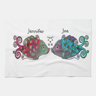 Two Rainbow Whimsical Fish Pair Couple Very Unique Hand Towels