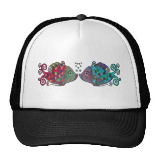 Two Rainbow Whimsical Fish Pair Couple Very Unique Trucker Hat
