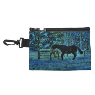 Two Ranch Horses Playfighting at Night in Winter Accessory Bag