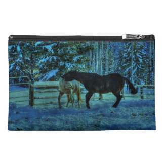 Two Ranch Horses Playfighting at Night in Winter Travel Accessory Bag