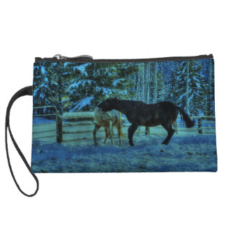 Two Ranch Horses Playfighting at Night in Winter Wristlet Wallet