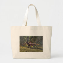 Two Ranch Horses Running in Forest
