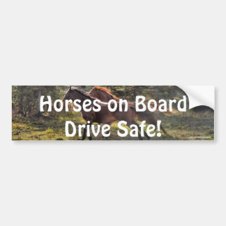 Two Ranch Horses Running in Forest Car Bumper Sticker