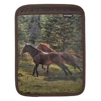 Two Ranch Horses Running in Forest Sleeve For iPads