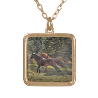 Two Ranch Horses Running in Forest Square Pendant Necklace