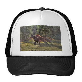 Two Ranch Horses Running in Forest Trucker Hat