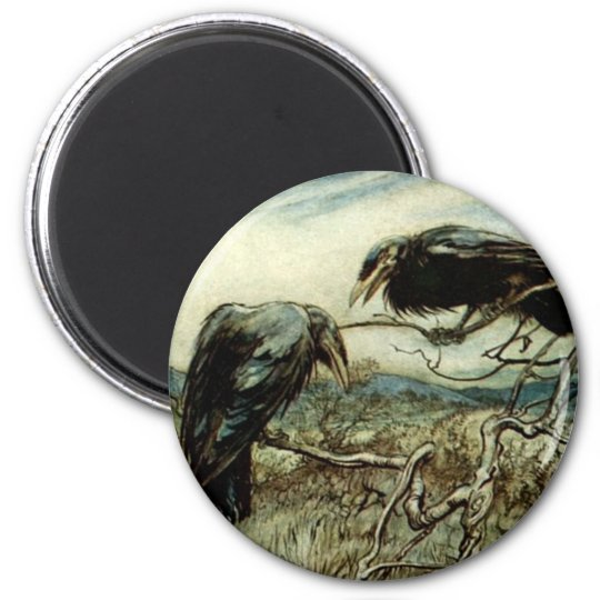 Two Ravens 2 Inch Round Magnet