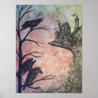 Two Ravens + Castle on Red dark creepy Art Poster