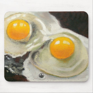 Two Raw Eggs: Realism Oil Pastel Painting Mouse Pad