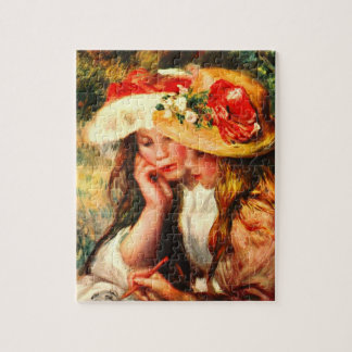 Two reading girls in a garden by Pierre Renoir Jigsaw Puzzles