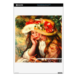Two reading girls in a garden by Pierre Renoir PS3 Slim Console Decals