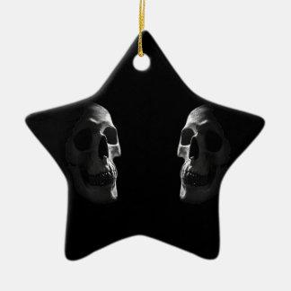 Two real smiling skulls ceramic ornament