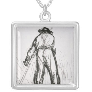 Two Reapers Seen from the Back Silver Plated Necklace