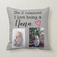 two reasons i love being a nana personalized throw pillow