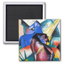 Two red and blue horses by Franz Marc Magnet