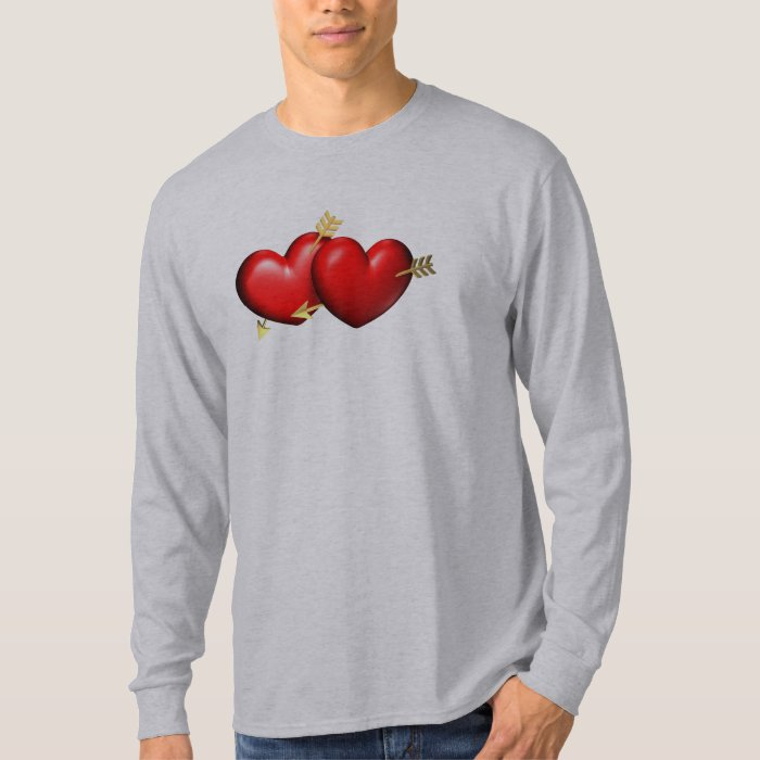 Two red and chubby hearts with golden arrows T-Shirt