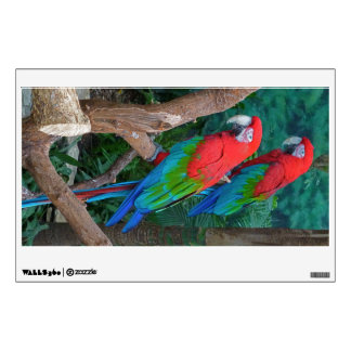 Two Red and Green Winged Macaws Ara Chloropterus Wall Sticker