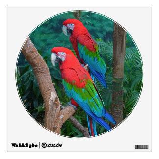 Two Red and Green Winged Macaws Ara Chloropterus Wall Graphics