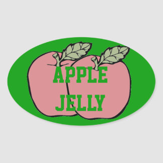 Two Red Apples Apple Jelly in a Jar Canning Label Stickers