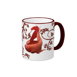 Two Red Bettas Ringer Coffee Mug