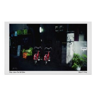 Two Red Bikes, Tokyo, Japan Poster