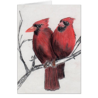 Two Red Birds Card