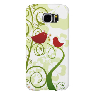 Two red birds in a tree Samsung Galaxy S6 case. Samsung Galaxy S6 Case