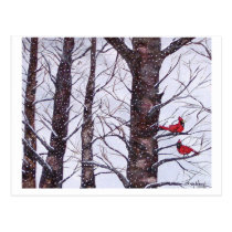 two red birds in winter, Copyright 2005 Postcard
