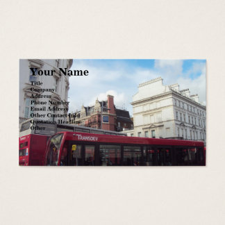 Two Red Buses Neck-To-Neck Business Card