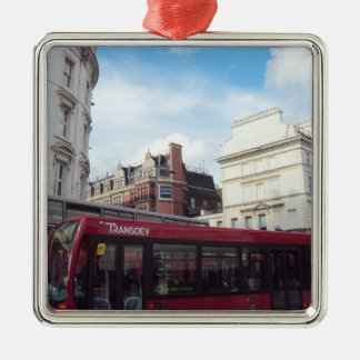 Two Red Buses Neck-To-Neck Christmas Ornament