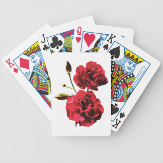 Two Red Carnations with Buds Bicycle Playing Cards