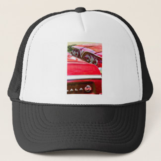 Two Red Chevy Impalas with Lights Trucker Hat
