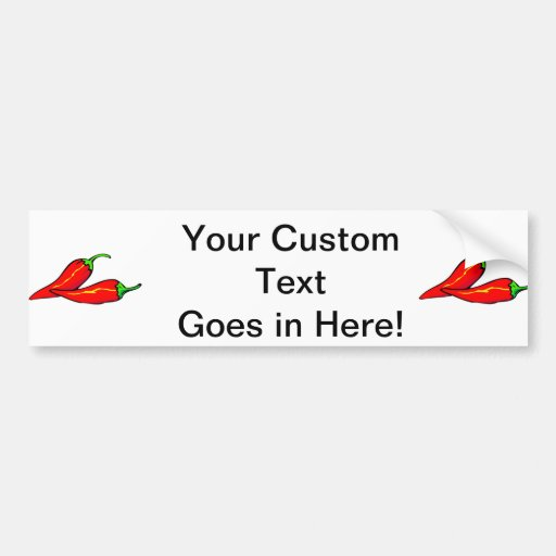 Two Red Chili Peppers on Side Car Bumper Sticker