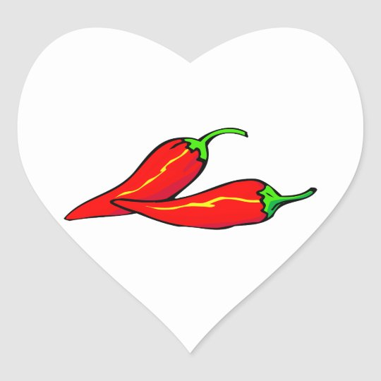 Two Red Chili Peppers on Side Heart Sticker