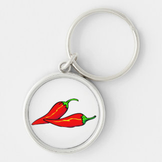 Two Red Chili Peppers on Side Silver-Colored Round Keychain
