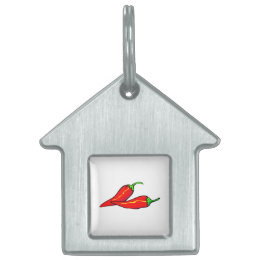 Two Red Chili Peppers on Side Pet ID Tag