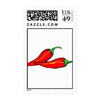 Two Red Chili Peppers on Side Stamp