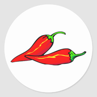 Two Red Chili Peppers on Side Classic Round Sticker