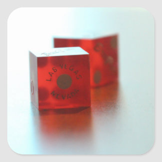 Two Red Dice Square Sticker
