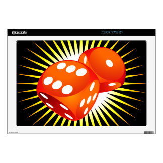 """Two red dices. 17"""" laptop skin"""