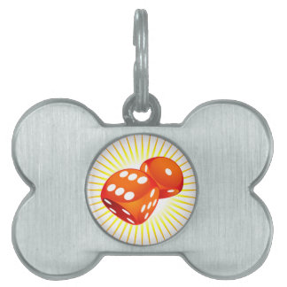 Two red dices. pet ID tag