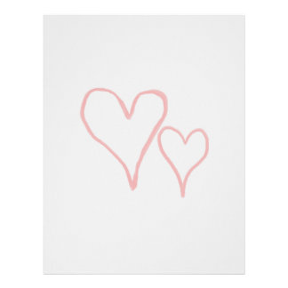 Two red drawn heart outlines, different sizes letterhead