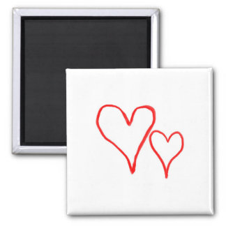 Two red drawn heart outlines, different sizes refrigerator magnet